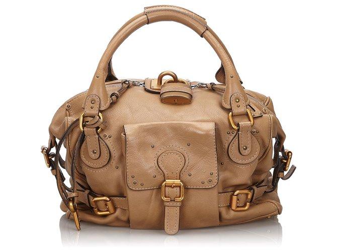 Chloé Chloe Brown Leather Paddington Handbags Leather,Other Brown,Beige ref.149452