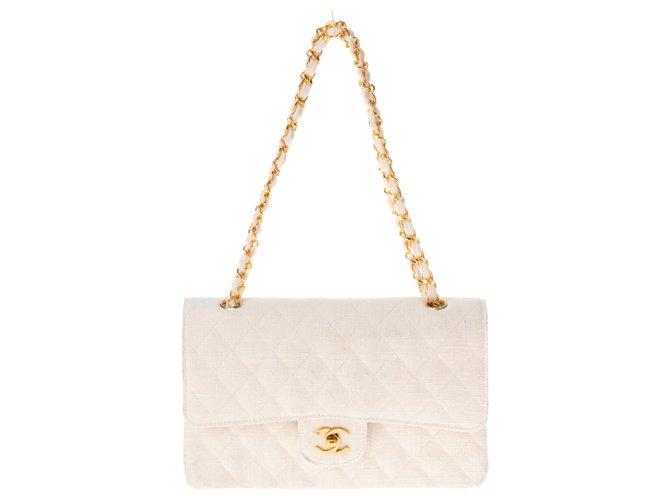 Chanel Chanel Mademoiselle handbag in quilted white linen, golden hardware! Handbags Leather,Linen White ref.149598