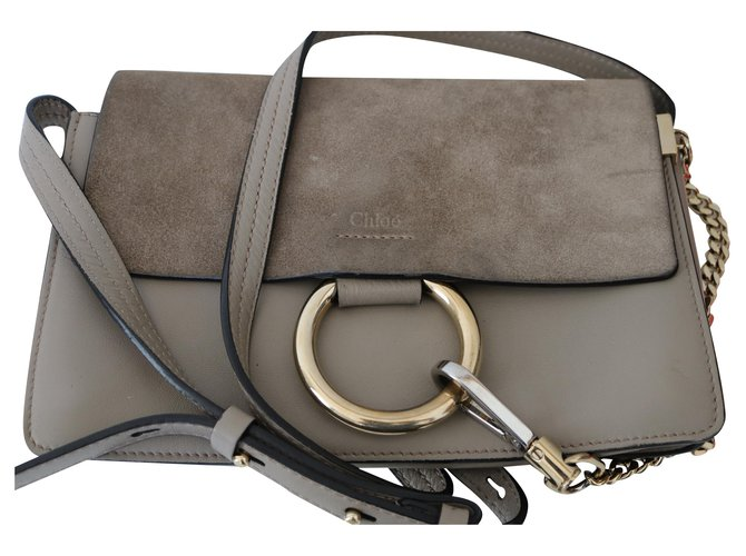 Chloé Faye Small Shoulder Bag Clutch bags Leather Grey ref.149667