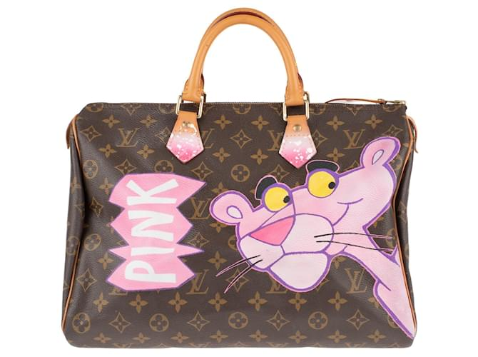 """Louis Vuitton Louis Vuitton Speedy 35 Monogram """"Pink Panther"""" customized by PatBo! Handbags Leather,Cloth Brown ref.149820"""