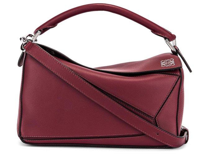 Loewe Small puzzle Handbags Leather Dark red ref.149874