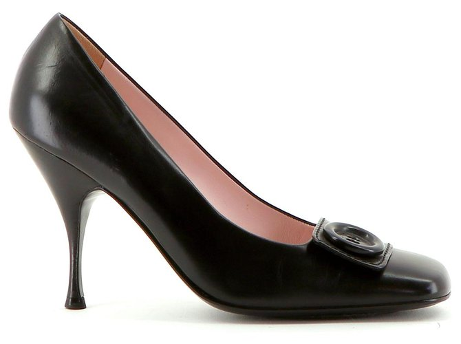 Céline Pumps Heels Leather Black ref.149937