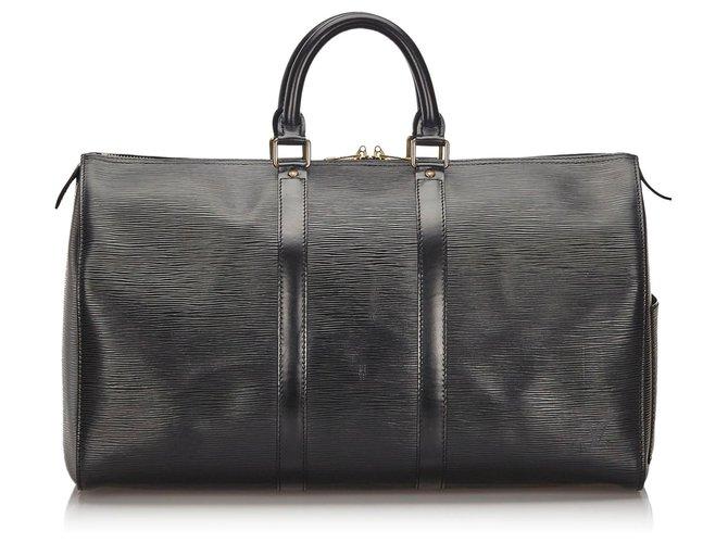 Sacs de voyage Louis Vuitton Louis Vuitton Black Epi Keepall 45 Cuir Noir ref.150144