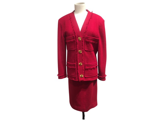 Chanel Skirt suit Skirt suit Wool Red ref.150213