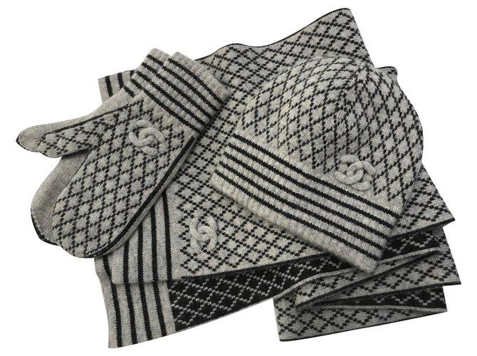 Chanel Scarf, Hat & Gloves Set Cashmere Scarves Cashmere Black,Grey ref.150259