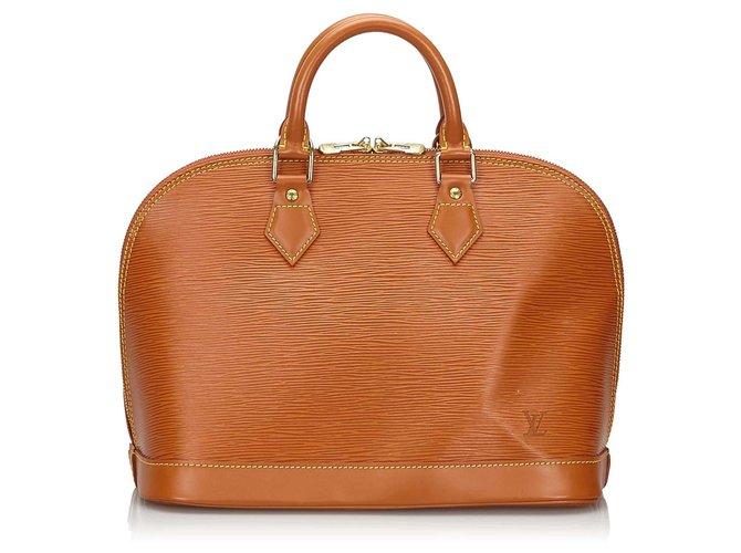 Sacs à main Louis Vuitton Louis Vuitton Brown Epi Alma PM Cuir Marron ref.150269