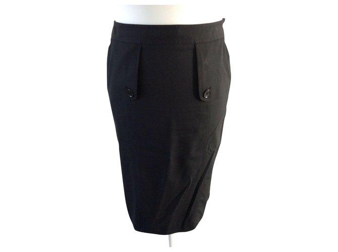 Burberry Black silk pencil skirt Skirts Wool,Elastane Black ref.150427