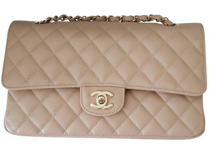 Chanel Handbags Handbags Leather Beige ref.150732
