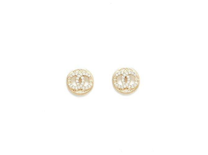 Chanel CC RHINESTONE CIRCLE Earrings Metal Golden ref.150750