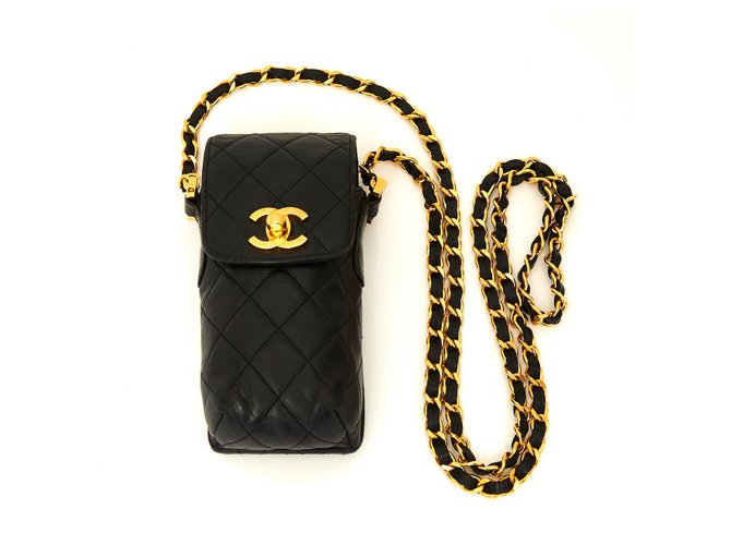 Chanel TIMELESS CLASSIC BLACK HOLDER Handbags Leather,Metal Black,Golden ref.150768