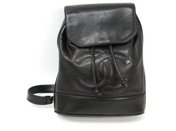 Chanel Chanel Black Vintage Lambskin Timeless Sling Bag Backpacks Leather Black ref.150809