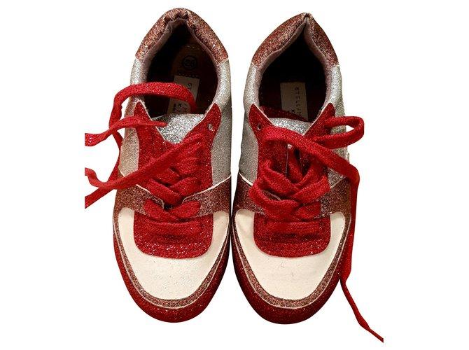 Baskets enfant Stella Mc Cartney sneakers Cuir Blanc,Rouge ref.150947
