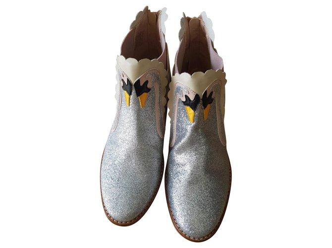 Bottes, bottines Stella Mc Cartney boots Cuir Argenté ref.150948