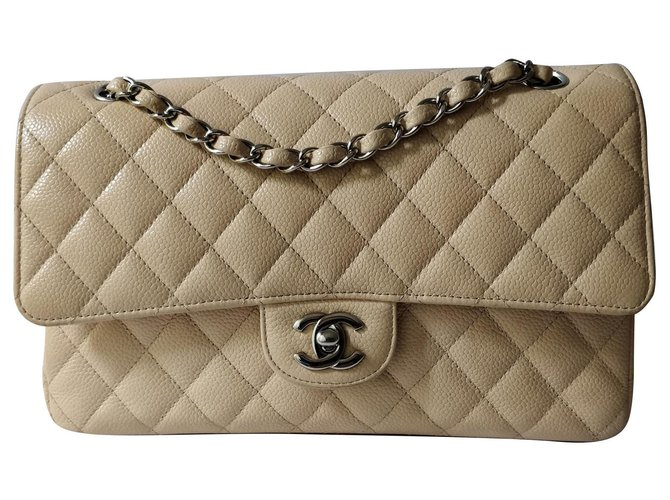 Chanel Medium timeless classic lined flap bag Handbags Leather Beige ref.150993