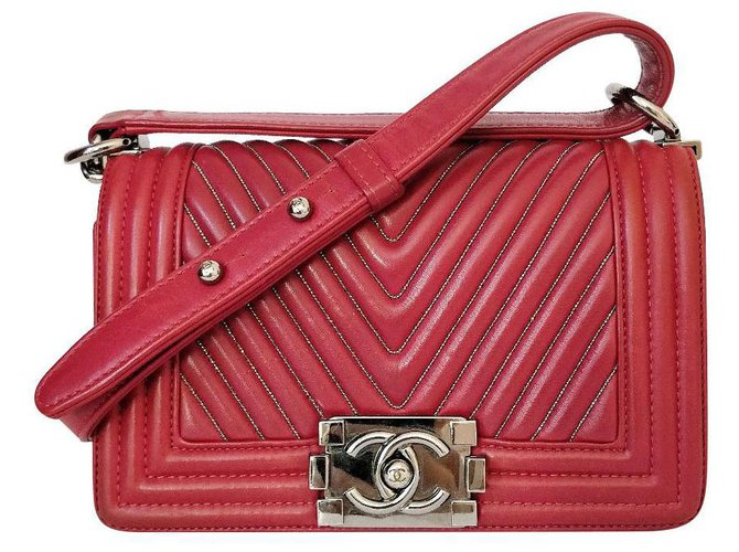 Chanel Boy small chevron Handbags Leather Dark red ref.150999