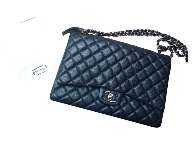 Chanel Maxi Caviar Flap Classic Handbags Leather Navy blue ref.151024