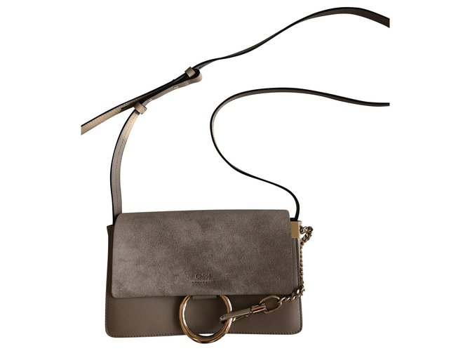 Chloé Faye Handbags Leather Taupe ref.151060