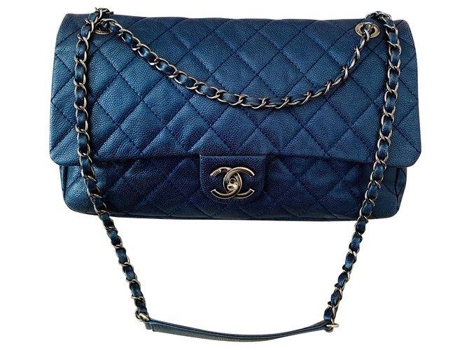 Chanel Chanel Handbags Leather Blue,Navy blue,Dark blue ref.151095