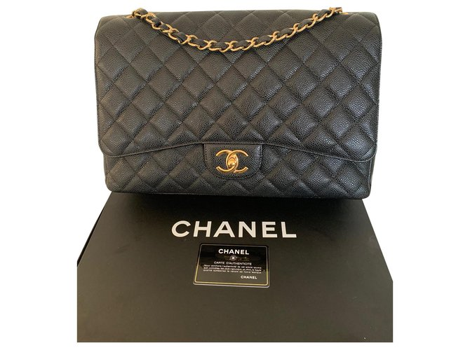 Chanel Maxi Jumbo Handbags Leather Black ref.151099