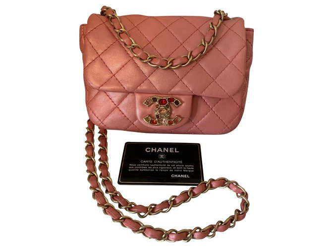 Chanel Mini Classic Handbags Leather Pink ref.151103