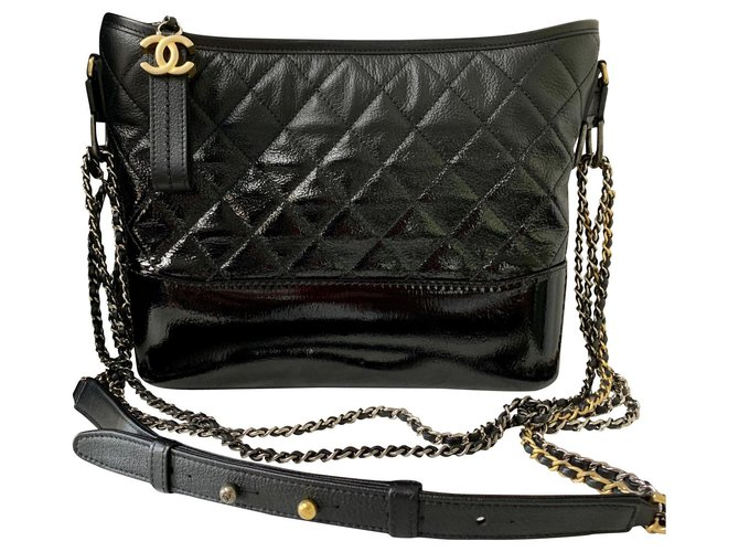 Chanel GABRIELLE de CHANEL large hobo bag IN BLACK DEGRADE LEATHER Handbags Leather,Patent leather Black ref.151229