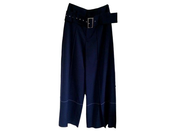Céline Pants, leggings Pants, leggings Wool Navy blue ref.151366