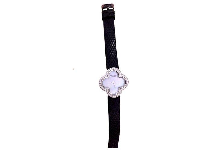 Bracelets Van Cleef & Arpels Alhambra S Or blanc Blanc cassé,Turquoise ref.151394