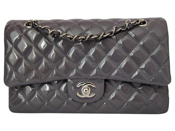 Chanel Classic medium Handbags Patent leather Purple ref.151450