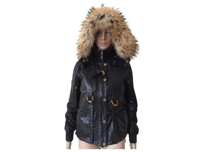 Manteaux Gucci Manteaux, Vêtements d'extérieur Cuir,Fourrure Noir ref.151554