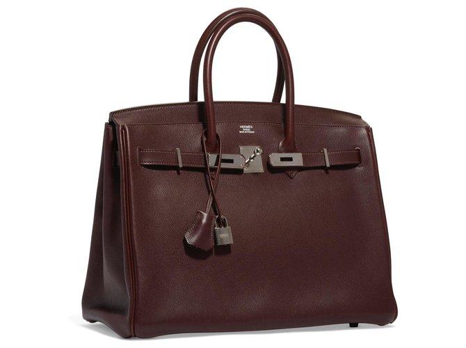 Hermès Very beautiful Hermes Birkin 35 in Evergrain Havana Handbags Leather Brown ref.151619