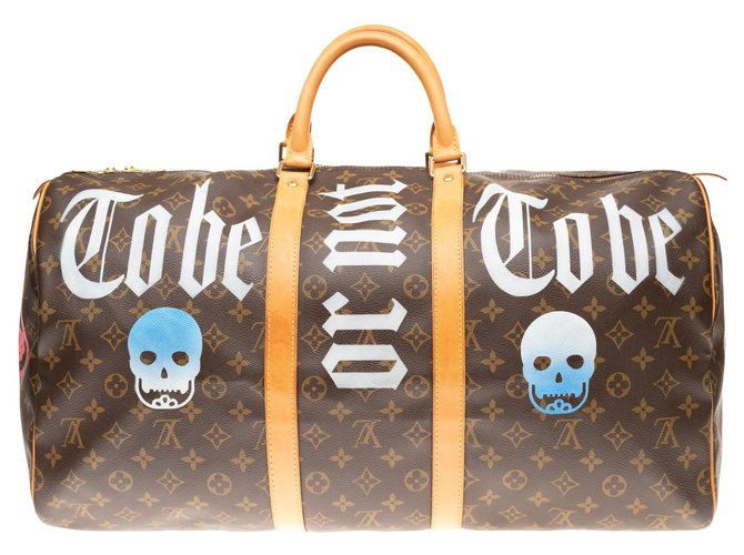 """Louis Vuitton Louis Vuitton Keepall 55 Monogram """"Be or not to be"""" customized by PatBo! Bags Briefcases Leather,Cloth Brown ref.151666"""