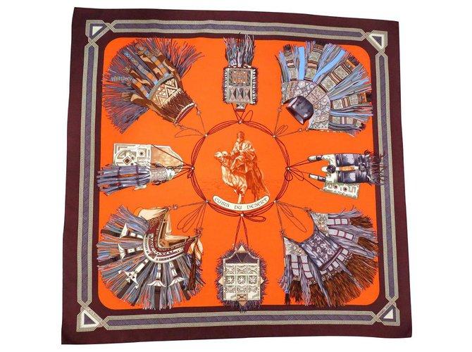 Hermès HERMÈS SQUARE: * LEATHER OF DESERT * Silk scarves Silk Orange ref.151766