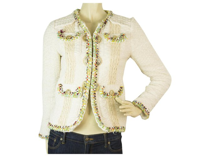 Chanel Chanel Cuba 2017 Off white Tweed Wool Jacket multicolor trim & golden buttons 38 Jackets Other Cream ref.151819