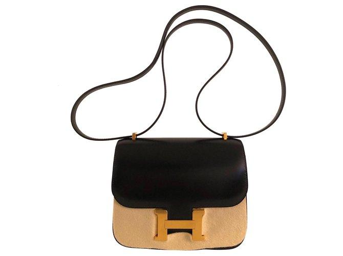 Sacs à main Hermès Hermes Constance 18 Box Noir Cuir Noir ref.151911