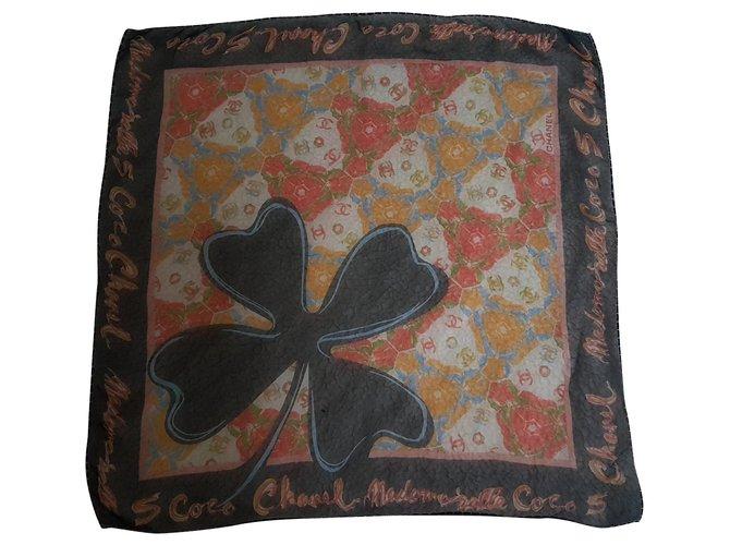 Chanel Silk scarves Silk scarves Silk Black,Multiple colors ref.151988