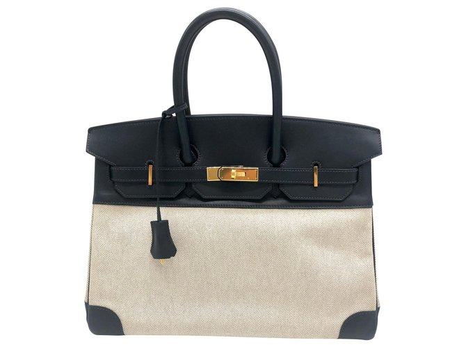 Sacs à main Hermès Sacs à main de marque Hermès modèle Birkin 35 cm en toile beige H et cuir swift bleu. Cuir Bleu ref.151995