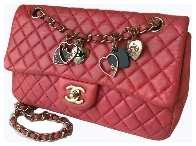Sacs à main Chanel Sac Valentine Flap Medium Cuir Rose,Fuschia ref.152017