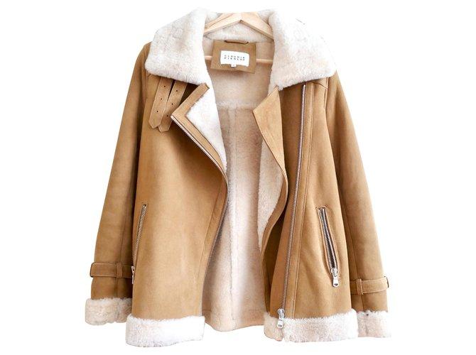 Claudie Pierlot sheep jacket returned claudie pierlot Coats, Outerwear Fur Beige ref.152236