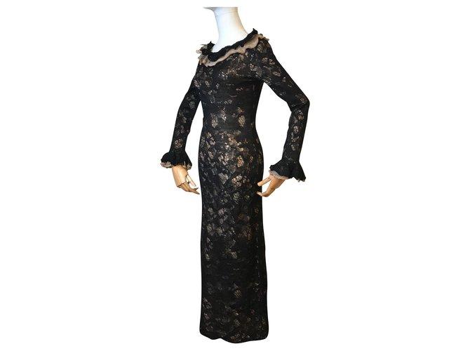 Robes Chanel Robe longue en dentelle d'alpaga Autre,Mohair Noir ref.152246