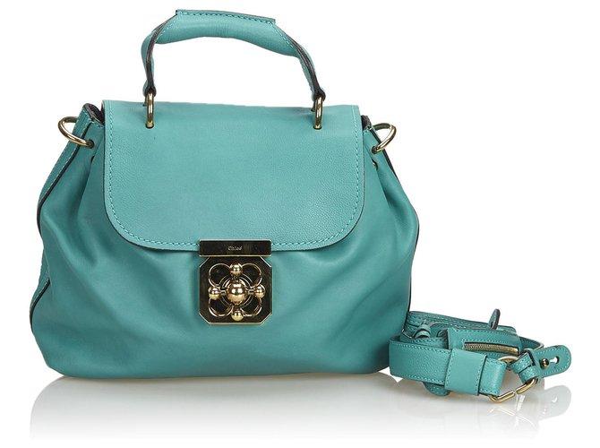 Chloé Chloe Green Leather Elsie Satchel Handbags Leather,Other Green ref.152288