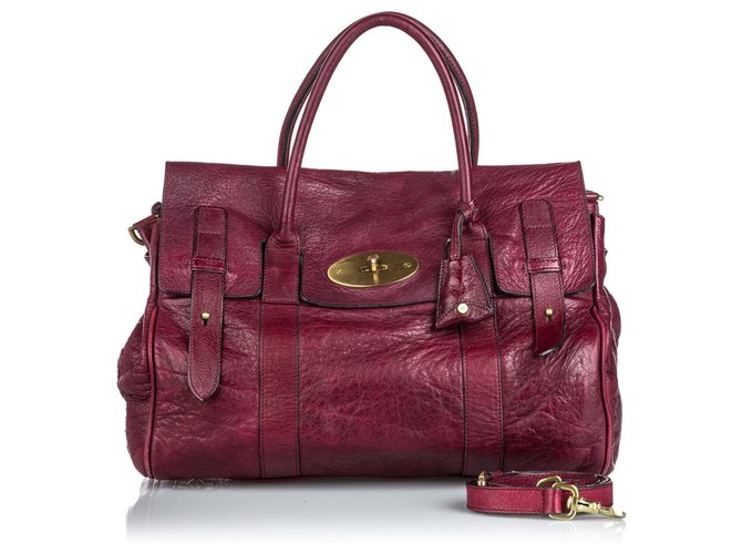 Mulberry Mulberry Red Leather Bayswater Satchel Handbags Leather,Other Red ref.152308