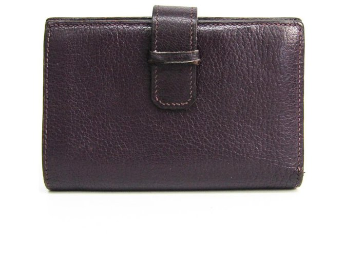 Hermès Hermes Purple Chevre Mysore Julla Wallet Misc Leather,Goatskin Purple ref.152332