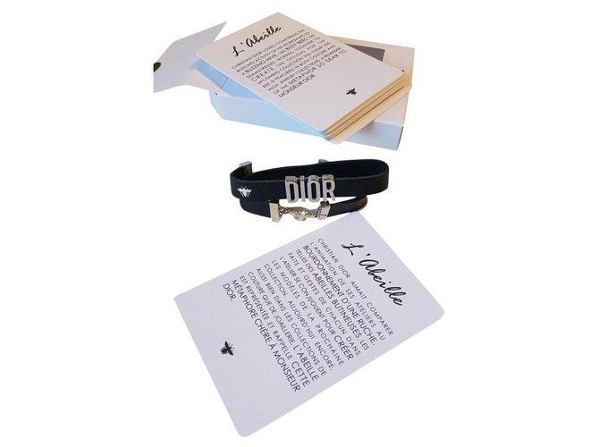Bracelets Dior Bracelets Cuir Noir,Argenté ref.152513