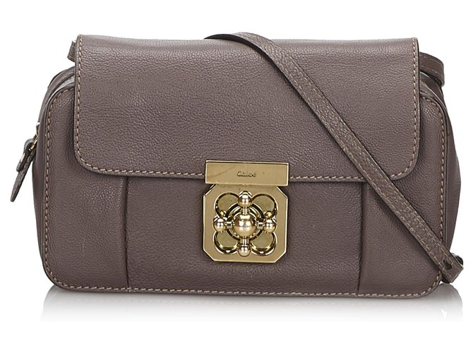 Chloé Chloe Brown Mini Leather Elsie Crossbody Bag Handbags Leather,Other Brown,Dark brown ref.152528