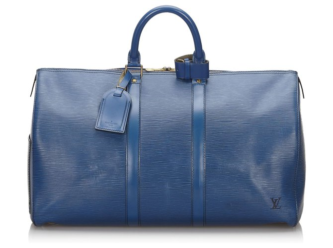 Sacs de voyage Louis Vuitton Louis Vuitton Blue Epi Keepall 45 Cuir Bleu ref.152548