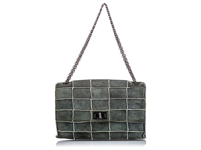 Chanel Chanel Gray Reissue 225 Patchwork Flap Bag Handbags Suede,Leather Other,Grey ref.152598