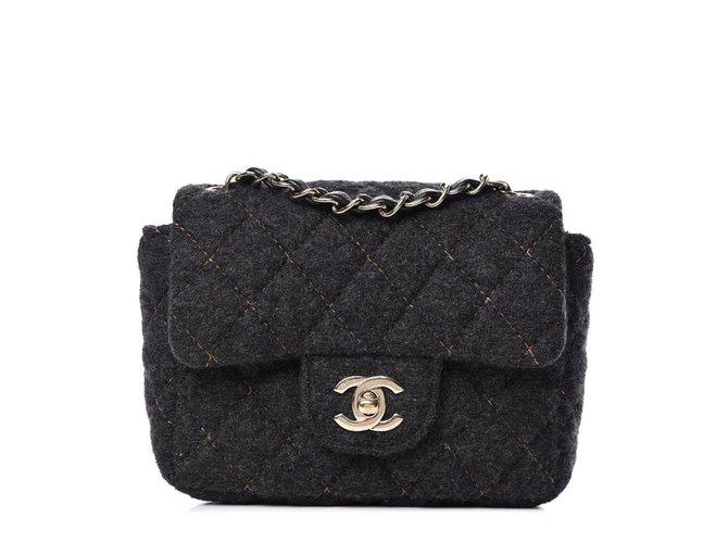 Chanel Square Crossbody Handbags Wool Black ref.152670