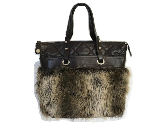 Chanel Large Tote Bag Brown Handbags Leather,Other Brown,Dark brown ref.152755