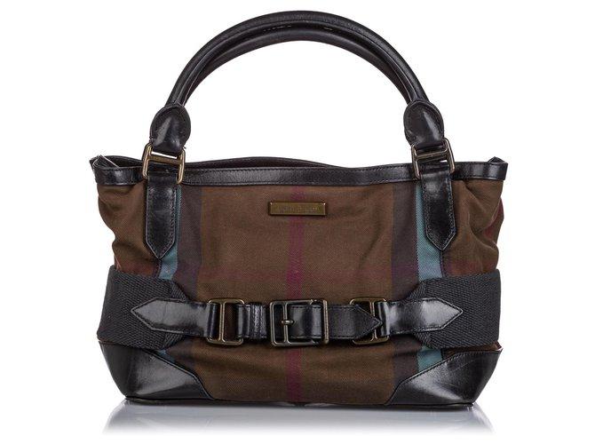 Burberry Burberry Brown Smoke Check Canvas Handbag Handbags Leather,Other,Cloth,Cloth Brown,Black ref.152816