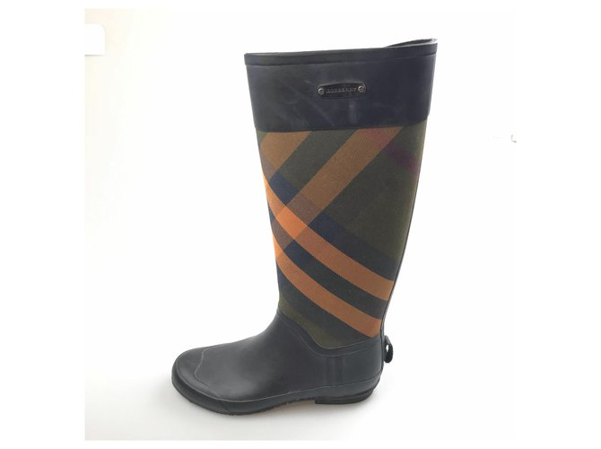 Burberry Burberry Black Check Rain and Snow Boots Ankle Boots Other,Plastic,Cloth Black,Multiple colors ref.152821